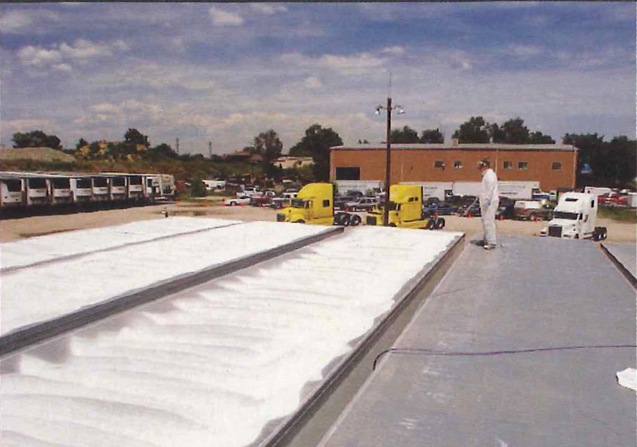 Applying Super Therm® to Pacific Trucking roofs