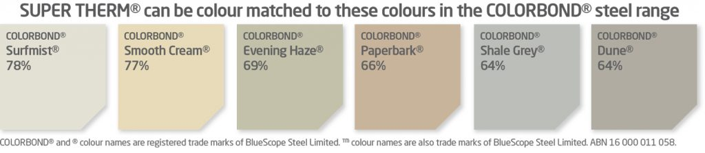SUPER THERM® can be colour matched to these colours in the COLORBOND® steel range