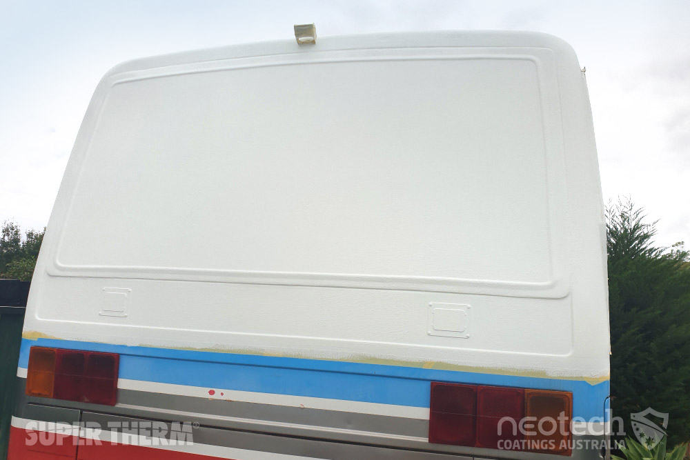 Super Therm® applied to a bus by roller to stop the heat